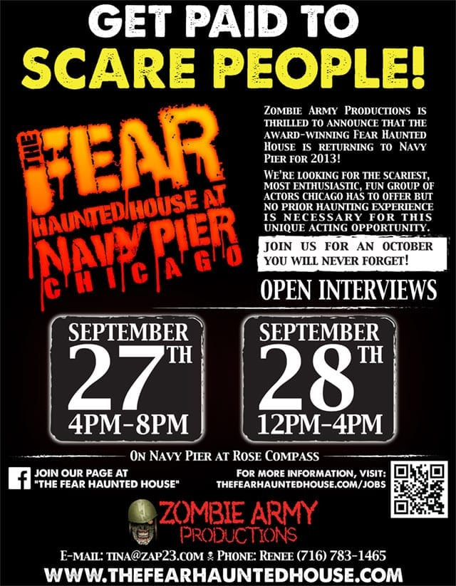 The Fear Haunted House At Navy Pier Actor Auditions 9 27 28